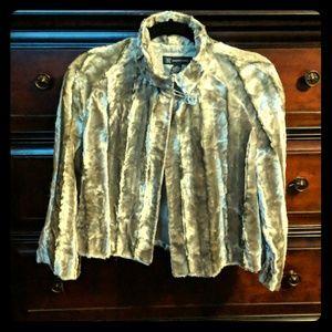 INC faux chrome silver fur capelet
